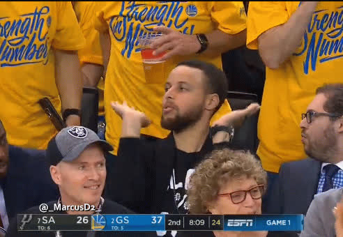 raise the roof, steph curry, stephen curry, Steph Curry raise the roof reaction GIFs