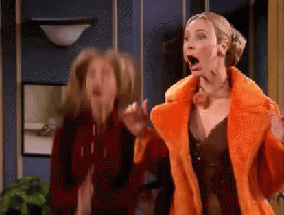 clapping, excited, friends, happy, jennifer aniston, lisa kudrow, phoebe, rachel, Rachel and Phoebe Excited GIFs