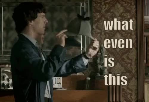 Watch This is how my brothers react to feminine products. GIF on Gfycat. Discover more brothers, confusion, fandom, fandoms, feminine products, hat, hats, johnlock, sherlock, sherlock fandom GIFs on Gfycat