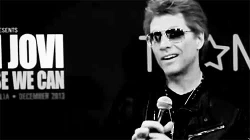 Watch and share Black And White Jon Bon Jovi Gif GIFs on Gfycat