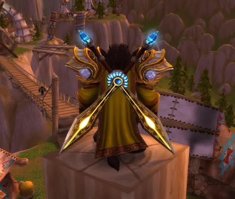 Transmogrification, transmogrification, I get lots of compliments on my Fury Warrior transmog. He's yellow. (reddit) GIFs