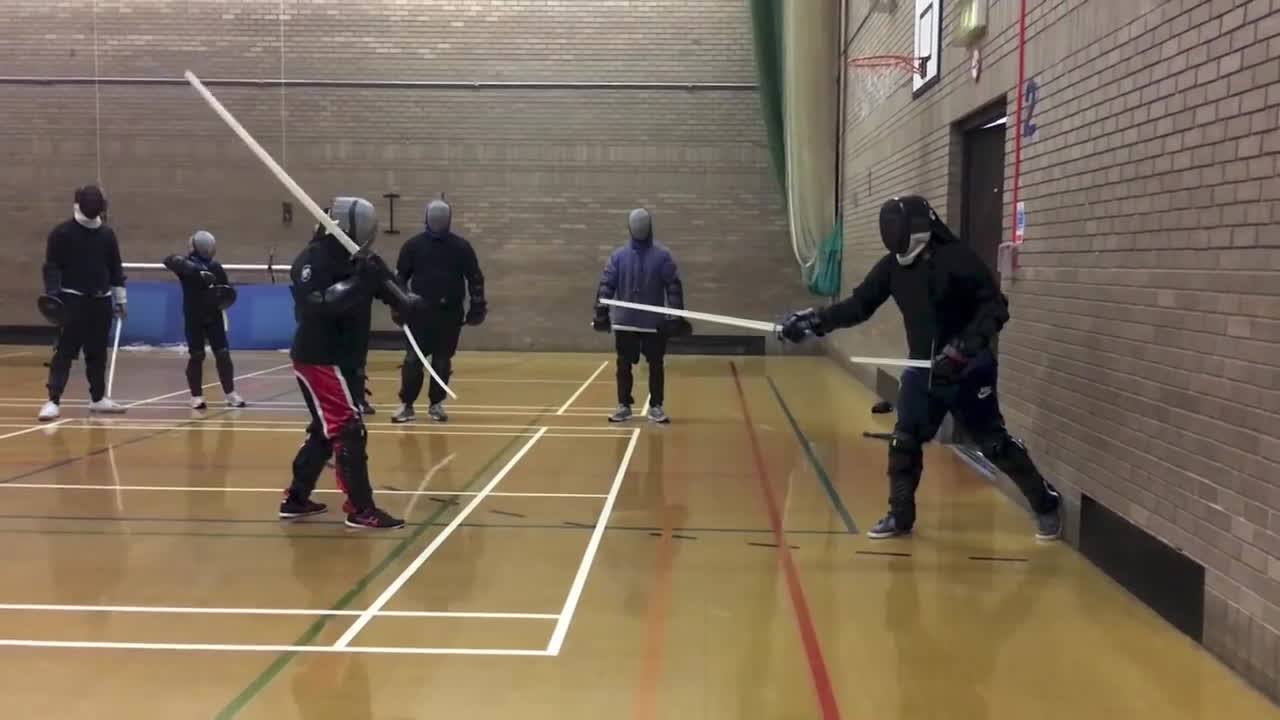 fencing, hema, wma, Sparring with nowhere to run! Mixed weapon carnage. GIFs