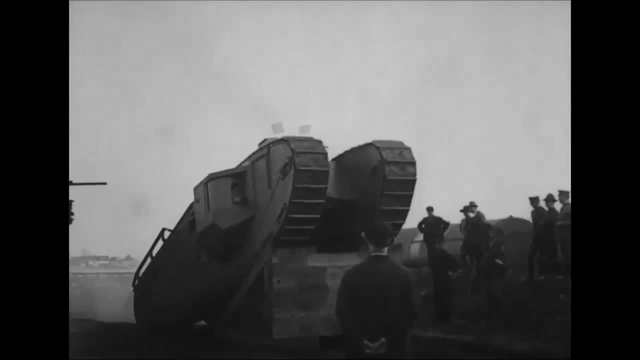 tank, ww1, Mark VIII tank climbs a ramp during testing at Bridgeport, CT, Oct 1918 GIFs