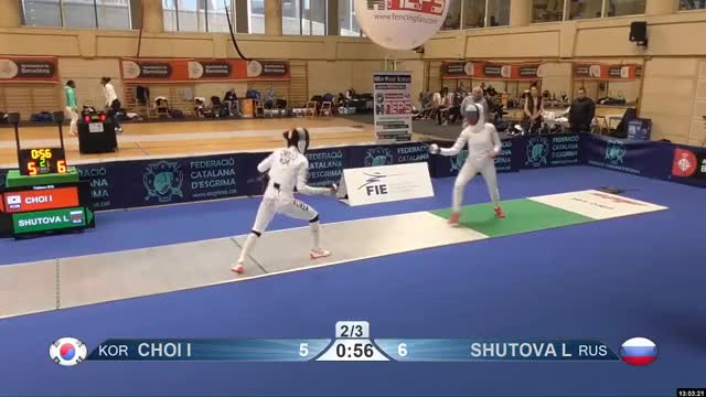 Watch CHOI I 6 GIF by Scott Dubinsky (@fencingdatabase) on Gfycat. Discover more gender: female, leftname: CHOI I, leftscore: 6, rightname: SHUTOVA L, rightscore: 7, time: 00010107, touch: double, tournament: barcelona2019, weapon: epee GIFs on Gfycat