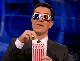 OkCupid, TransSupport, serbia, Colbert eating popcorn with 3D glasses GIFs