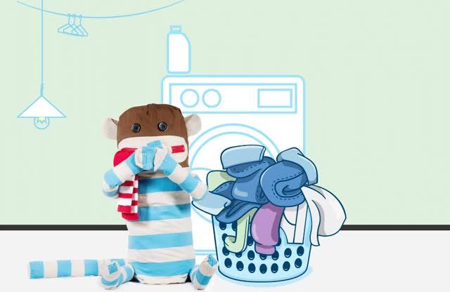 Watch Dirty Sock Monkey : Huggable Sock Monkey Laundry Bag. GIF on Gfycat. Discover more related GIFs on Gfycat