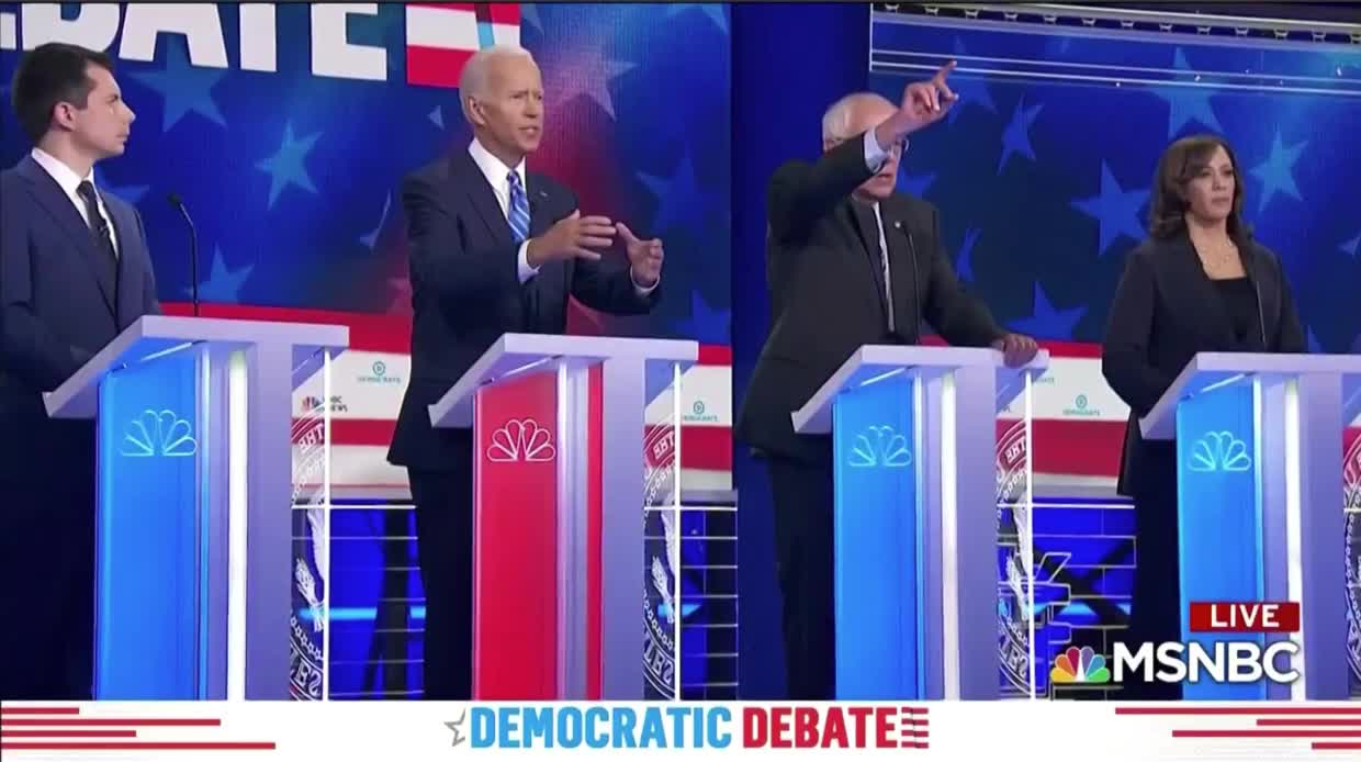 2019, bernie sanders, democrat, democratic debate, joe biden, politics, presidential election, Democratic Debate 2019 - Joe Biden, Bernie Sanders 'whoa' GIFs