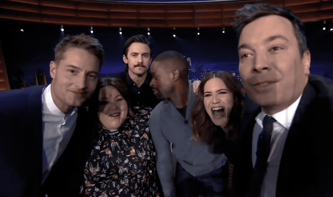 funny, hey, hi, is, jimmy fallon, kiss, milo, pose, selfie, show, there, this, this is us, tonight, us, ventimiglia, The cast of this is us and Jimmy selfie GIFs