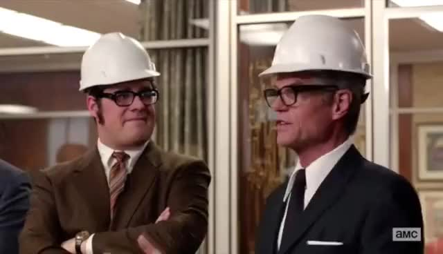 Watch and share Jim Cutler Hard Hat GIFs and Harry Crane GIFs on Gfycat