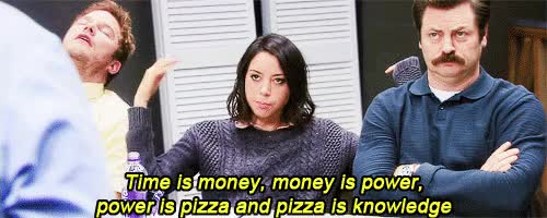 Watch this parks and rec GIF by Elaine Cheng (@elainecheng) on Gfycat. Discover more andy dwyer, ann perkins, april ludgate, aubrey plaza, ben wyatt, chris traeger, donna meagle, leslie knope, nick offerman, parks and rec, parks and recreation, pizza, ron swanson, tom haverford GIFs on Gfycat