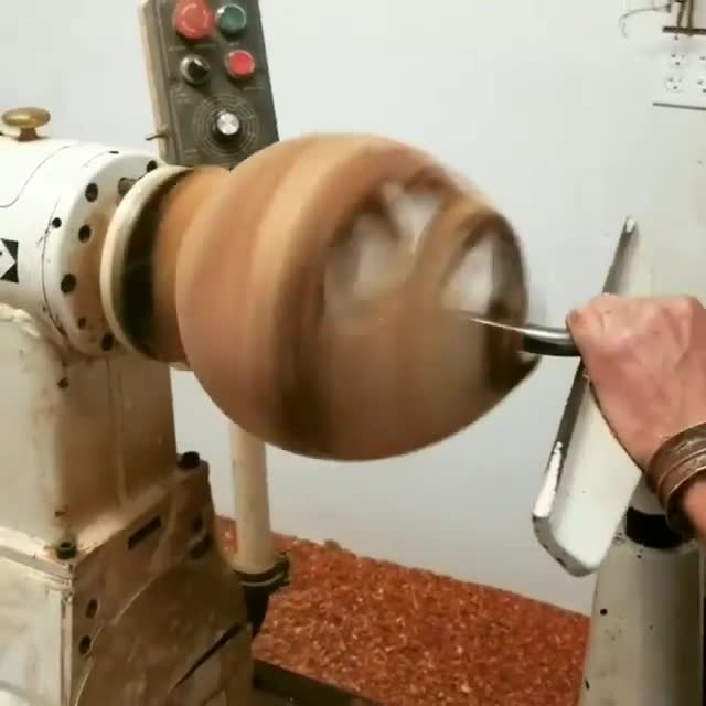 makersgonnamake, reclaimedwood, wood, wooden, woodisgood, woodturner, woodturning, woodwork, woodworker, woodworking, This manzanita has more air than wood! It takes a steady hand by @tilden_woodturning to get this burl hollow form finished up. . . . GIFs