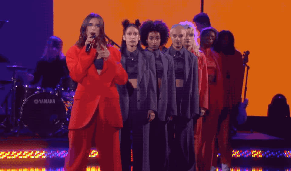 dance, dancing, degeneres, dgaf, dua, elle, hands, idgaf, lipa, perform, red, show, sing, singing, sync, synchronized, this, way, Dua Lipa - IDGAF GIFs