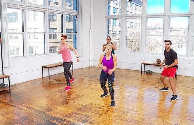 Uppercut Squat Reach Kickboxing Workout Daily Burn 365 GIFs
