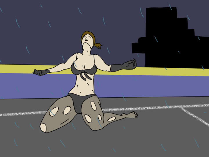 icandrawthat, metalgearsolid, Here is a .gif I made a while back of Quiet getting blown away in a storm. (reddit) GIFs