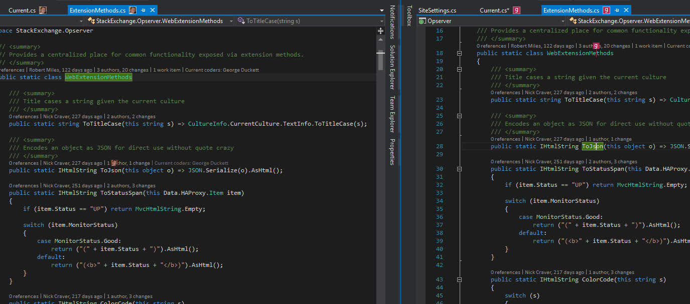 Visual Studio, csharp, Team Coding Visual Studio Extension Demo GIFs