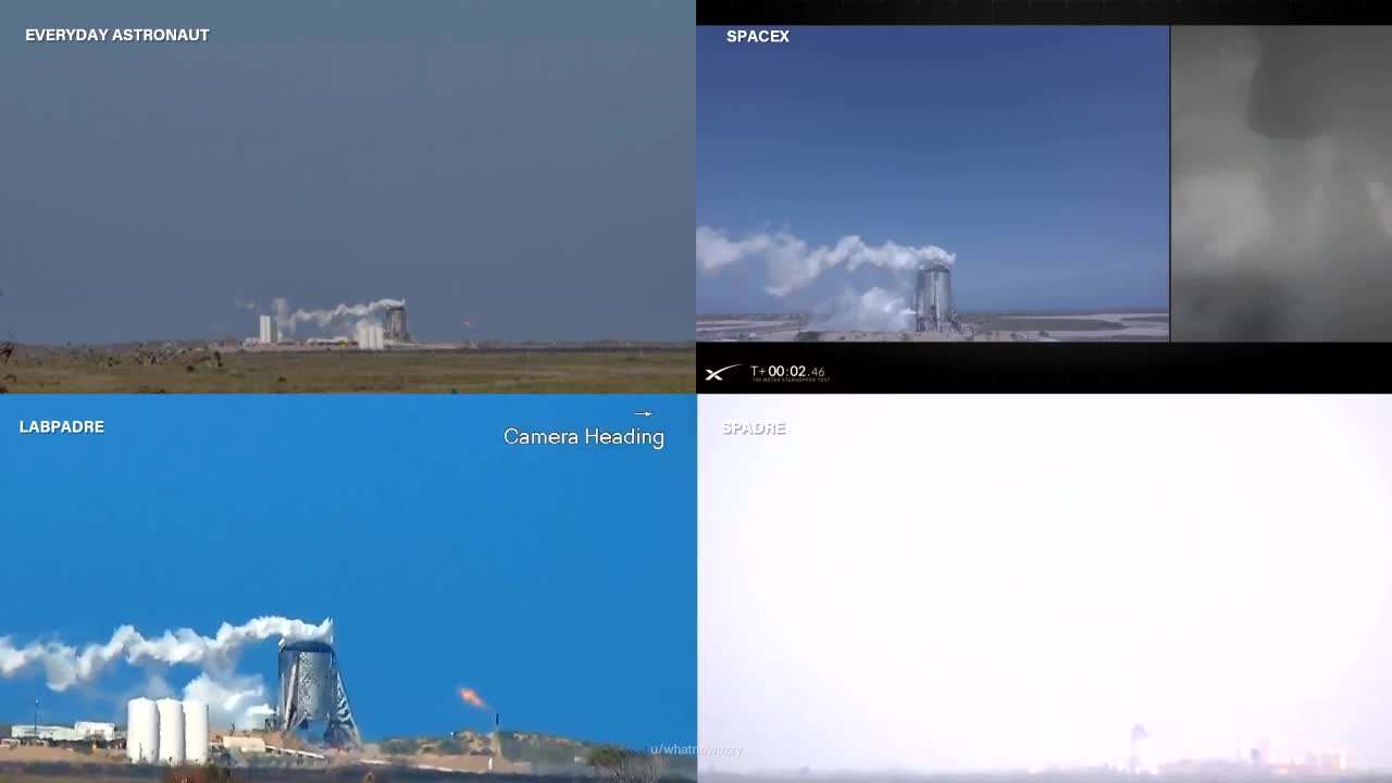 mirkokosmos, spacex, spacexmasterrace, starhopper, Starhopper 150m hop from 4 different angles GIFs