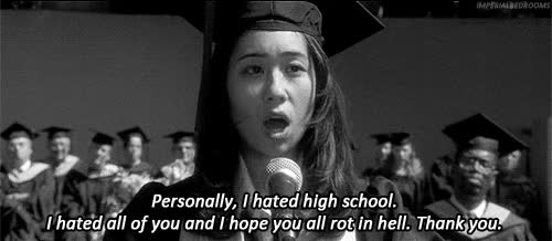 Watch and share Gif Funny Girl Black And White Text Hell Words True High School Graduation GIFs on Gfycat