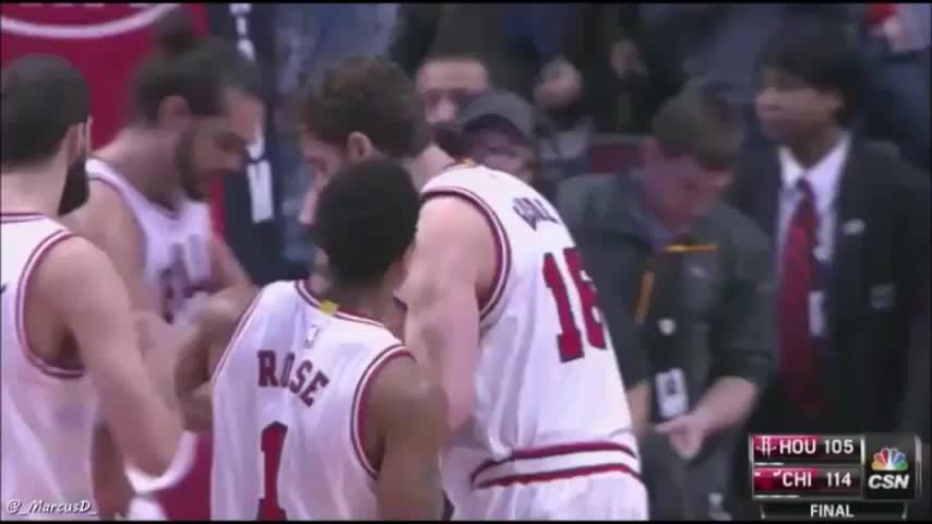 chicagobulls, nbaww, Rose, Noah, Gasol, Mirotic- great moment at the end of the game against the Rockets. (reddit) GIFs