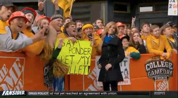 Watch and share Sam Ponder Pets The Mullet On College GameDay animated stickers on Gfycat