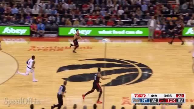 Jeremy Lin sinks a long range 2, pascal gets hyped