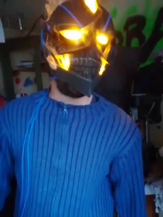cosplay, fire, Incredible smoking mask GIFs