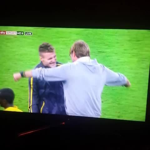 footbaww, Ciro Immobile and Jürgen Klopp celebrating a victory (reddit) GIFs