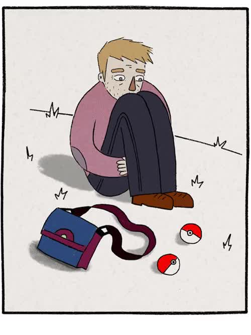 Watch and share Portrait Of The Artist As A Sad Pokémon Trainer Day One Of Our 30 Day Challenge, Self-portrait/persona Also A Panel From A Wip Comic GIFs on Gfycat