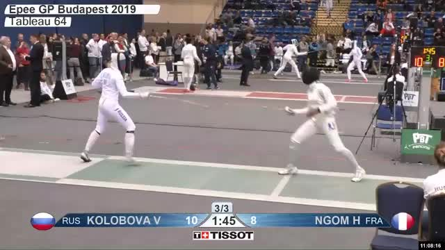 Watch KOLOBOVA VA 11 GIF by Scott Dubinsky (@fencingdatabase) on Gfycat. Discover more gender:, leftname: KOLOBOVA VA, leftscore: 11, rightname: NGOM H, rightscore: 8, time: 00010071, touch: left, tournament: budapest2019, weapon: epee GIFs on Gfycat