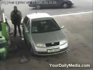 Watch Guy gets hit with tire GIF on Gfycat. Discover more gas station GIFs on Gfycat