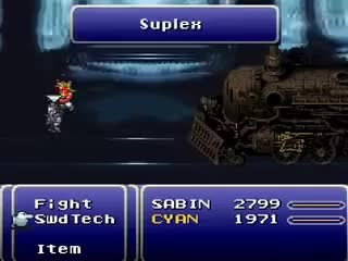 Watch sabinsuplex.gif GIF on Gfycat. Discover more Actually a Boss Fight, FFVI, Sabin, Totally Boss GIFs on Gfycat