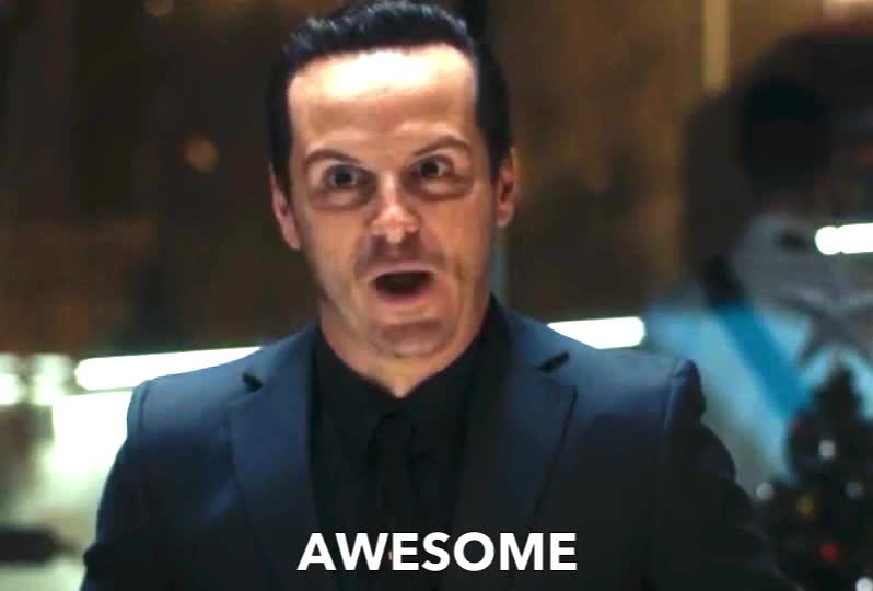 AWESOME, Andrew Scott, Moriarty, Sherlock, andrew, epic, evil, funny, gossip, holmes, interest, interesting, me, mean, more, scott, tell, wait, I already know it's going to be... awesome!  GIFs