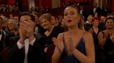 brie larson, celebs, cheering, Brie Larson Cheering GIFs