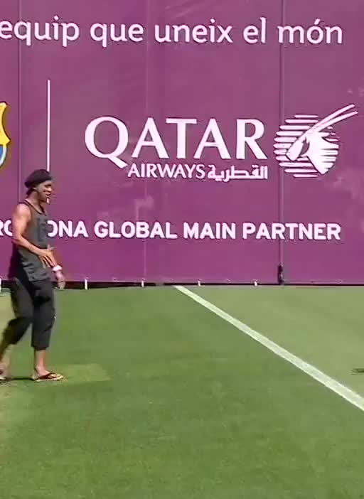 Ronaldinho surprises Messi by showing up at training yesterday GIFs
