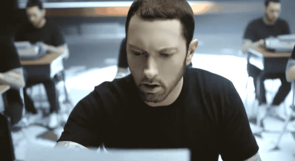 a, check, eminem, fuck, grammar, minute, mistake, omg, on, paper, pissed, read, the, upset, wait, walk, water, what, write, wtf, Eminem - Walk on water GIFs