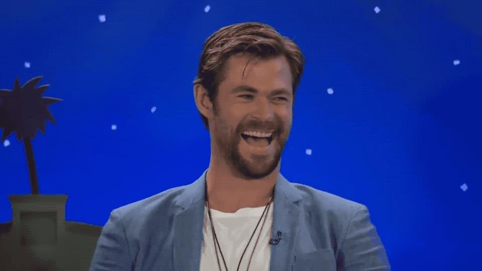 avengers, brien, cast, chris, conan, funny, haha, hehe, hemsworth, hilarious, hot, hunk, joke, joking, laugh, lol, loud, movie, o, out, LOL GIFs