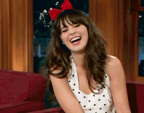 jjb zooey spam, laugh, laughing, mick mouse, micky ears, zooey deschanel,  GIFs