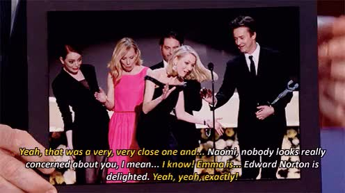Watch this trending GIF on Gfycat. Discover more Emma Stone, Gif, Interview, Jimmy Kimmel, Jimmy Kimmel Live, My gifs, Naomi Watts, SAG Awards GIFs on Gfycat