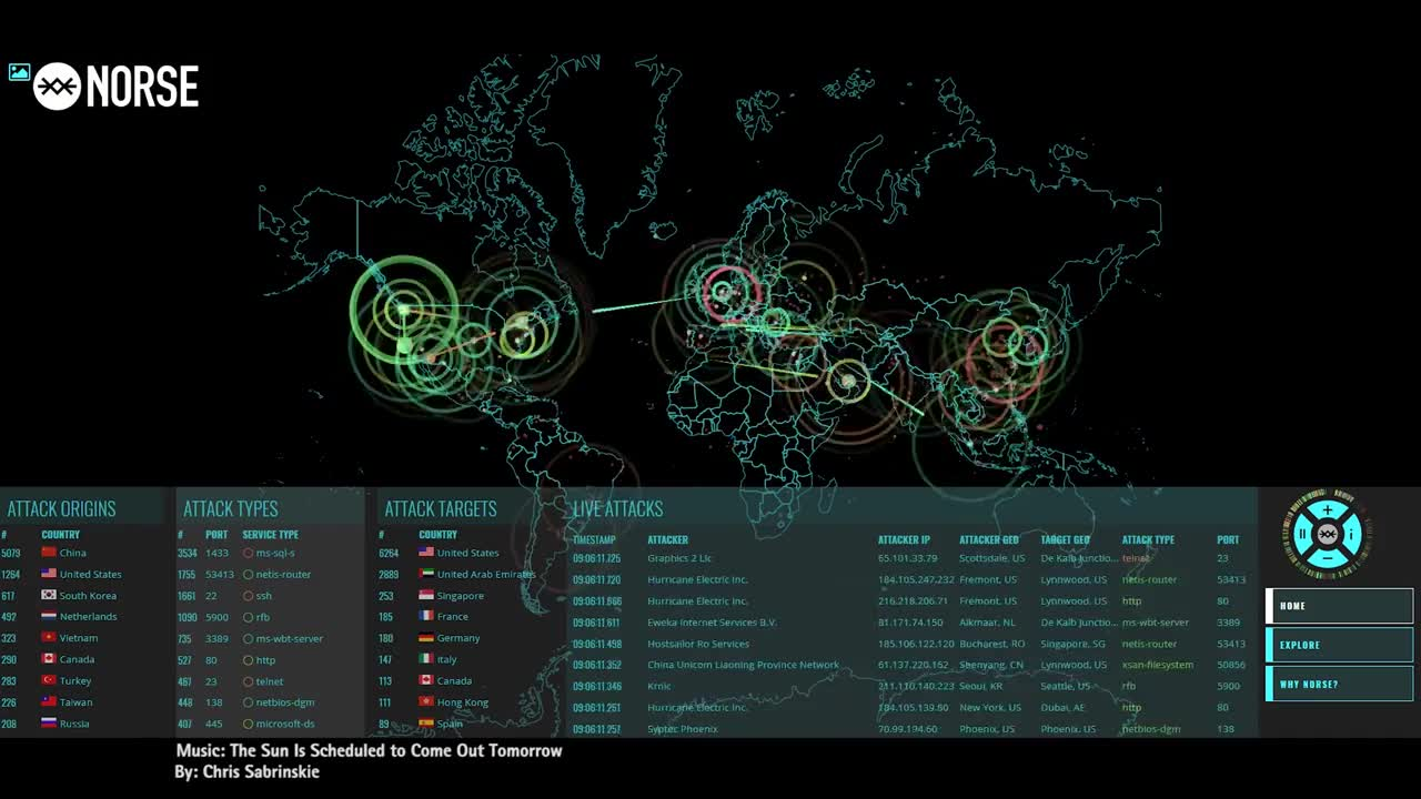 Norse Map on 9-11-2018 - Global View - BotNet / DDoS Live ... on
