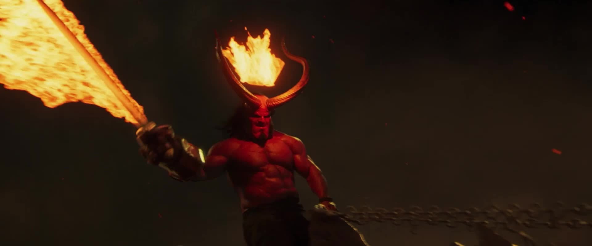 dark horse, dark horse comics, david harbour, dragon, fire, flames, hellboy, hellboy 2019, hellboy movie, its lit, lit, superhero, superheroes, Hellboy Flaming Sword Dragon GIFs