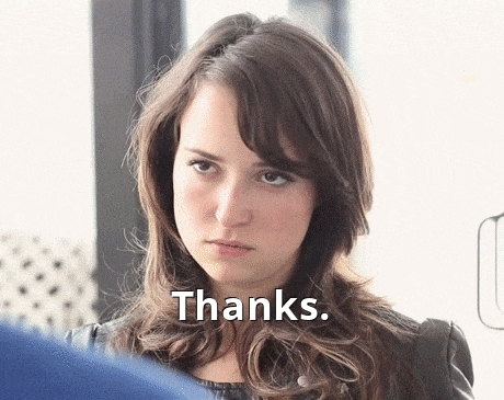 milana vayntrub, thanks, prude GIFs
