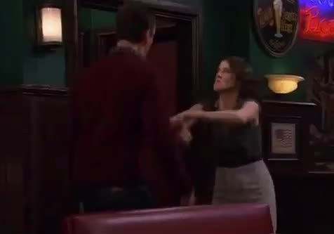 GIF Brewery, dance, dancing, do, excited, funny, gif brewery, himym, how, i, is, it, jukebox, marshall, met, mother, party, robin, this, you, your, Excited Marshall and Robin GIFs