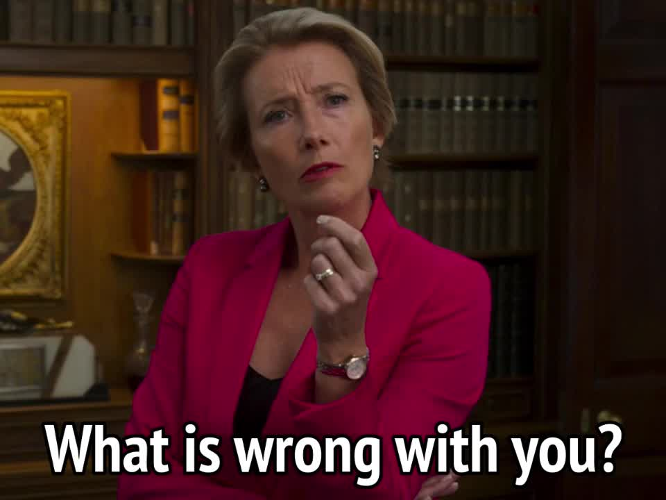 celebs, emma thompson, johnny english, Johnny English - What is wrong with you GIFs