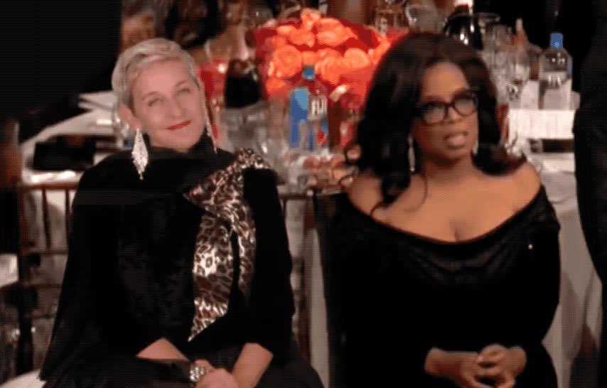 2018, awkward, celebs, ellen, ellen degeneres, funny, globes, golden, golden globes, hearts, i love you, love, oprah, oprah winfrey, u, winfrey, Ellen + Oprah GIFs