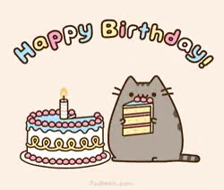 Watch and share Happy Birthday GIFs and Pusheen GIFs on Gfycat