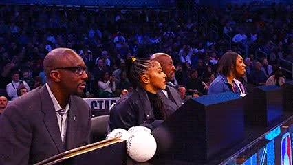 Watch and share Dee Brown, Candace Parker, Alonzo Mourning, And A'ja Wilson — 2019 Slam Dunk Contest GIFs by Off-Hand on Gfycat