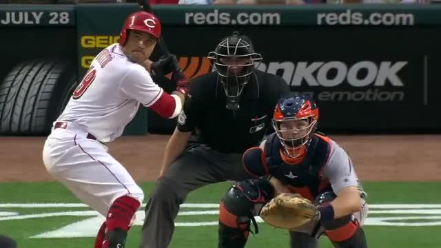 Watch this baseball GIF on Gfycat. Discover more baseball, cincinnati reds, hitting, home run, mlb, rbi, reds GIFs on Gfycat