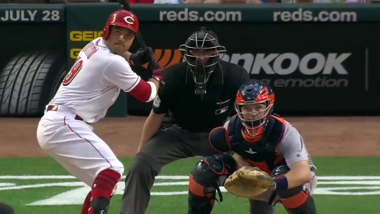 baseball, cincinnati reds, hitting, home run, mlb, rbi, reds, DFSArmy Votto 405' HR '18 GIFs