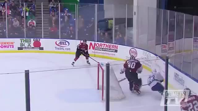 Watch and share Darren Archibald Of The Utica Comets Hits Karl Stollery Of The Lake Erie Monsters (reddit) GIFs by markovmaniac on Gfycat