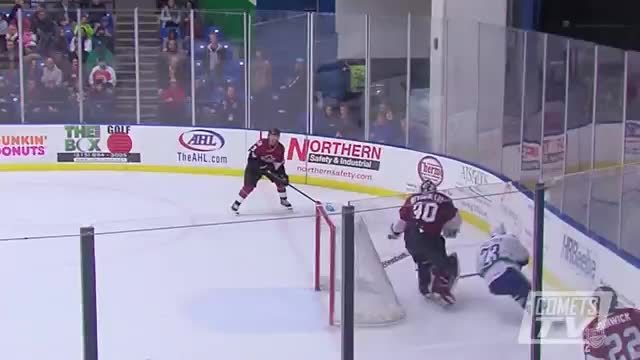 HereComesTheBoom, herecomestheboom, Darren Archibald of the Utica Comets hits Karl Stollery of the Lake Erie Monsters (reddit) GIFs