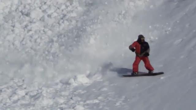 Snowshoe hare runs across an avalanche